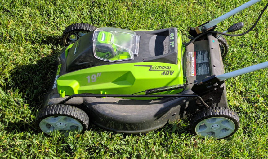 electric lawn mower greenworks cordless battery operated 19 40 volt
